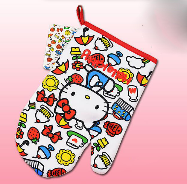 (5 Pcs/Lot) Good Quality Hello Kitty Kitchen Microwave Insulation Gloves(China (Mainland))