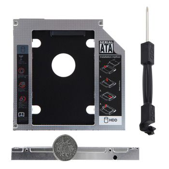 Universal Aluminum SATA 12.7mm SATA HDD Enclosure SSD Hard Drive Caddy Optical DVD Bay Adapter