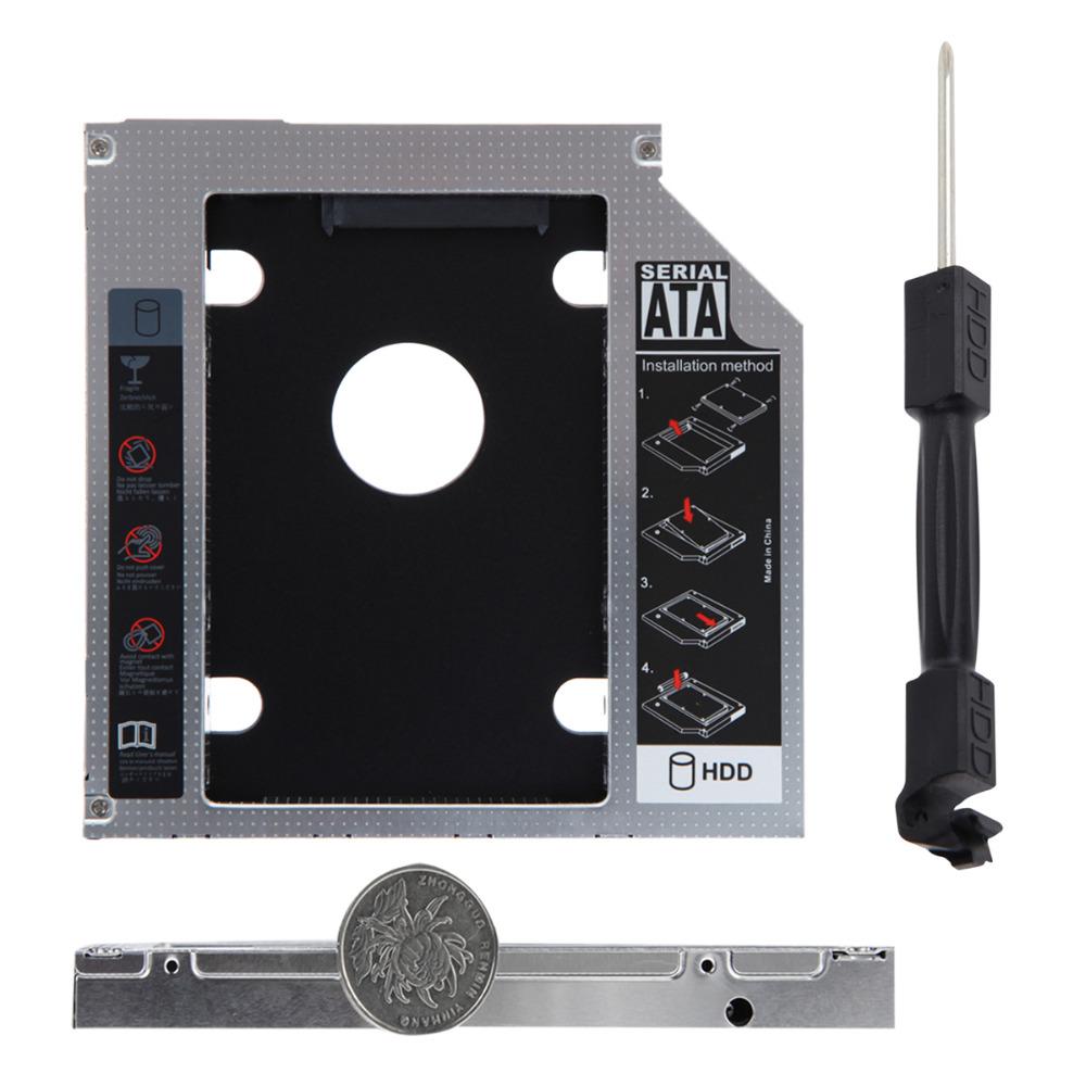 Universal Aluminum SATA 12.7mm SATA HDD Enclosure SSD Hard Drive Caddy Optical DVD Bay Adapter(China (Mainland))