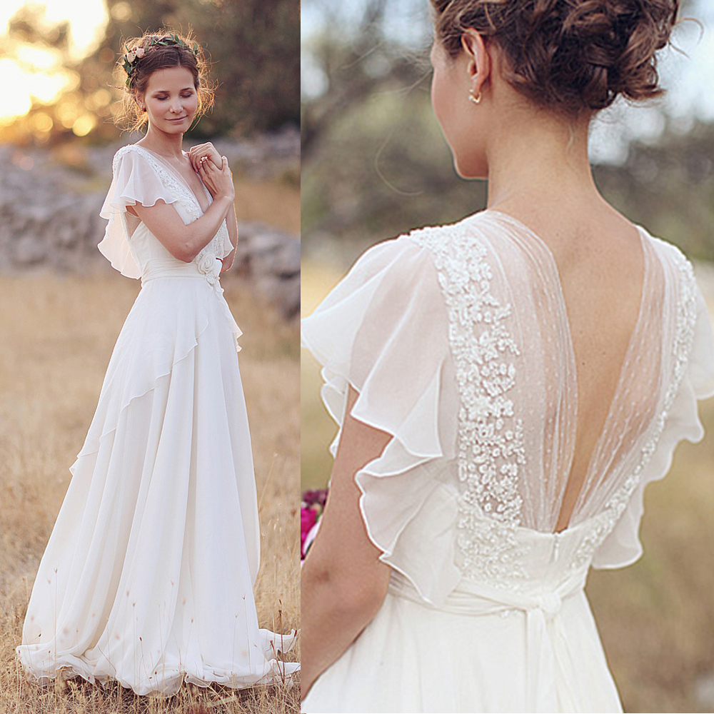 Romantic wedding dress bohemian lace bridal gowns chiffon for What is my wedding dress size