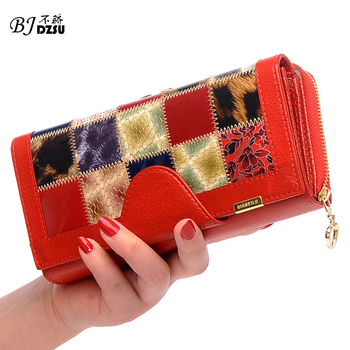 2016 New fashion  Designer 100% Genuine Leather Women's Wallet Luxury Bag Wallets Clutch Purse Phone cases portemonnee