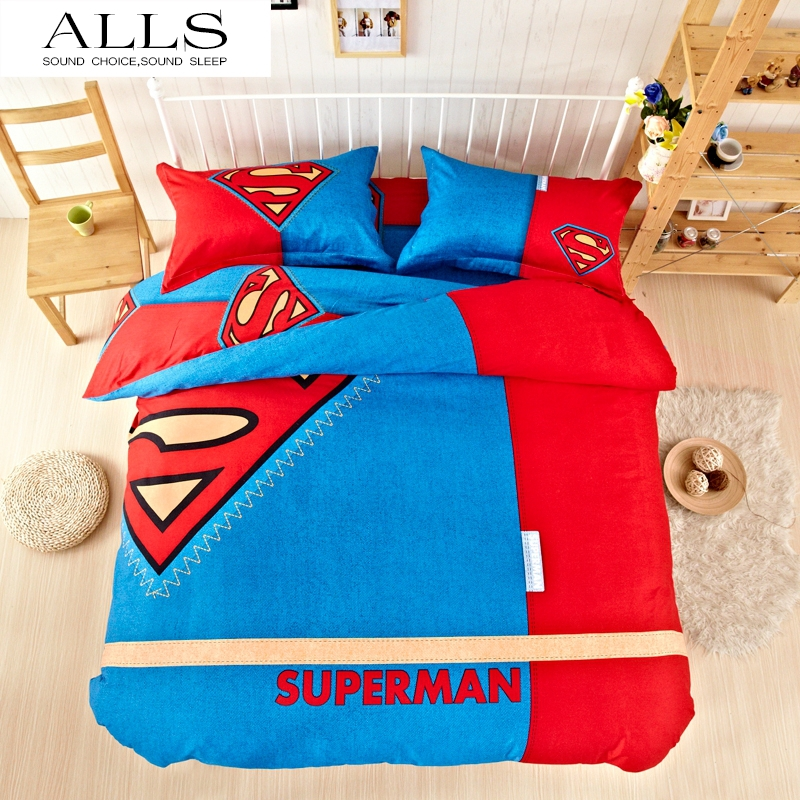 New Unique batman bedding sets home textile American hero superman captain america bedding set 3 size twin queen king for kids(China (Mainland))