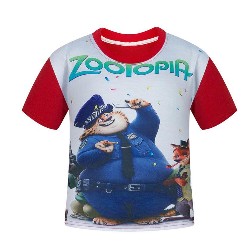 Summer short sleeve children t shirt zootopia clothes baby font b boys b font short sleeve
