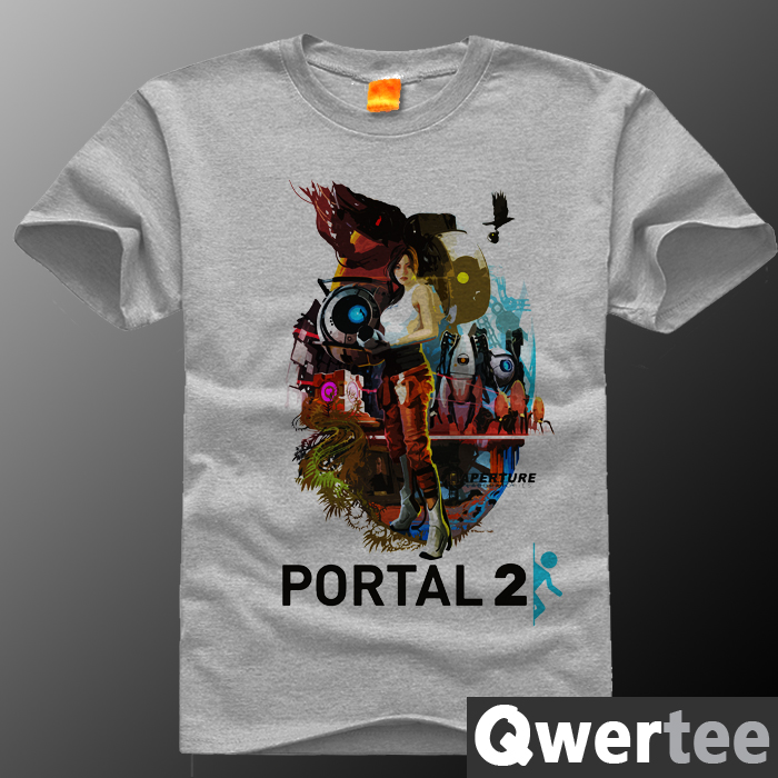 Game PORTAL 2 men short sleeve t-shirt male cotton 3D printed t shirts camisa masculina anime tees clothes plus size 4XL(China (Mainland))