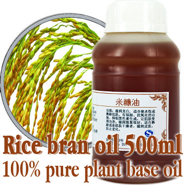 Free shopping100% pure plant base oil Essential oils Rice Bran oil 500ml Skin care DIY handmade Moisturizing Whitening