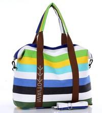 2015 New Fashion High Quality Women's Colour Stripe Large Capacity Canvas Tote Bag Casual Travel Bag sac a main femme de marque