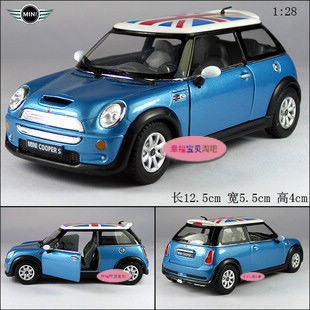 Gift for baby 1pc 1:28 12.5cm delicate national flag MINI cooper S simulation model alloy car pull back home decoration boy toy(China (Mainland))