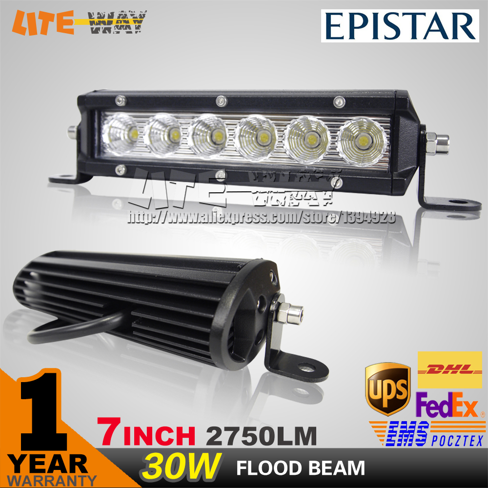 7INCH 30W LED WORK LIGHT BAR OFFROAD 4X4 FLOOD BEAM FOR TRUCK ATV SAVE ON 30W/120W