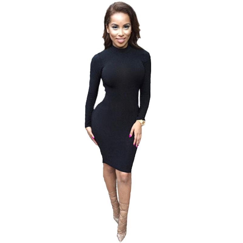 party dresses bodycon long sleeve black Turtleneck bandage dress ...