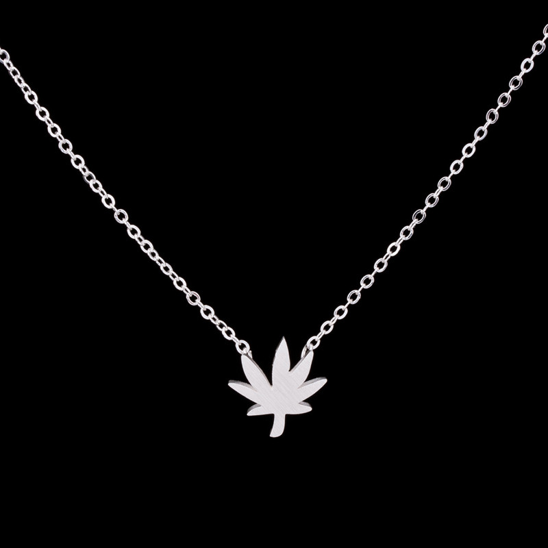 1 Wedding Gift Collier Femme Stainless Steel Layer Choker Simple Maple Leaf Charm Necklace Women Fashion Jewelry - CC Helen store