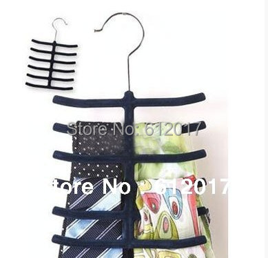 Nonslip Neck tie Belts Tie Hanger Velvet Fishbone Hangers Tie Hanger Rack Shawl Scarf Closet Holder Organizer(China (Mainland))