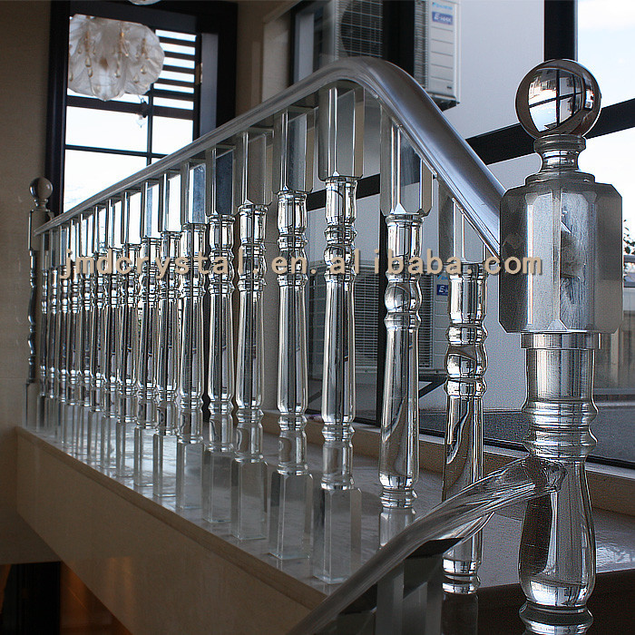 Crystal glass stairs railings staircase designs indoor for Glass balcony railing