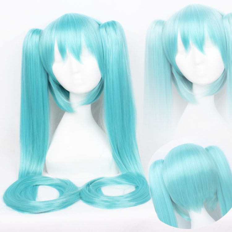 ~Vocaloid,Miku,437,Synthetic Blue Chip Long ponytails cos hair,Cosplay Costume Wig,Free shipping