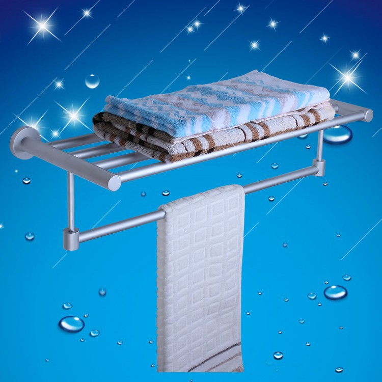 Buy bathroom hardware set space aluminum double towel rack towel shelf bathroom - Towel racks for small spaces concept ...