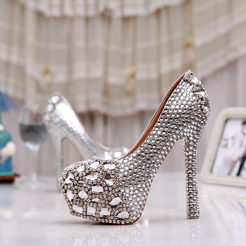 Women High Heel Prom Bridal Wedding Shoes Lady Platforms Silver Glitter Rhienstone Thin Heel Formal Dress Pumps Bridesmaid Shoes<br><br>Aliexpress