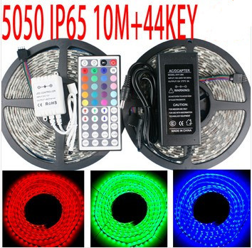 led strip 5050 30leds 300les IP65 waterproof 10M+60W+44KEY remote control led strips rope christmas lights lamp outdoor(China (Mainland))