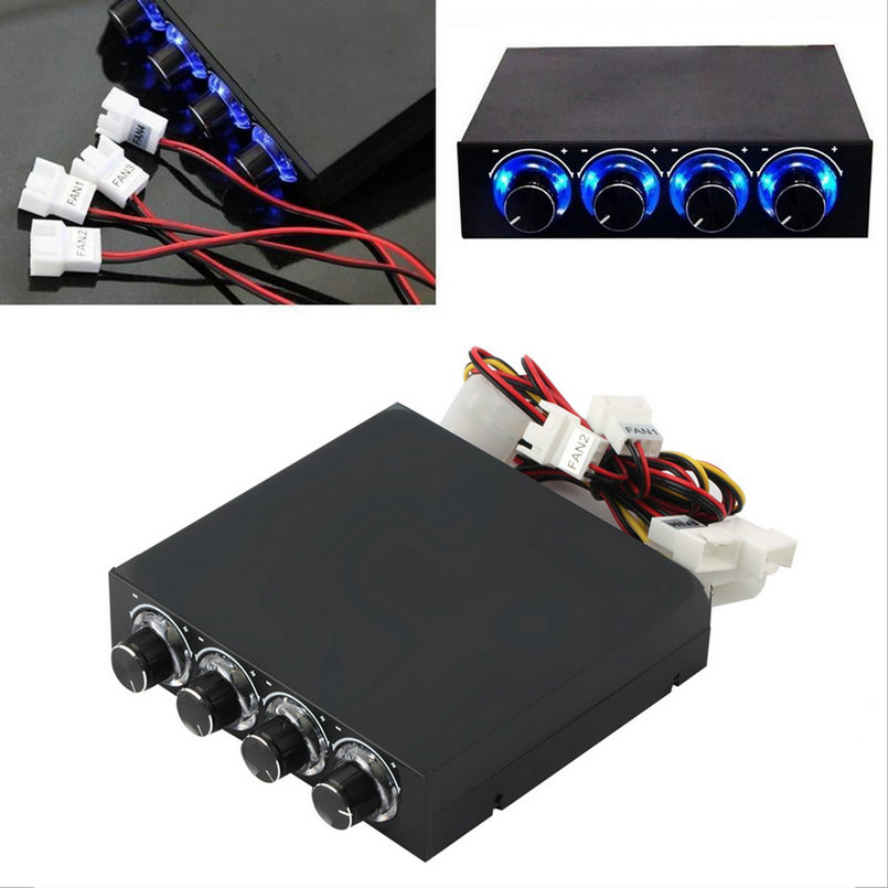 3.5inch PC HDD CPU 4 Channel Fan Speed Controller Led Cooling Front Panel Promotion(China (Mainland))