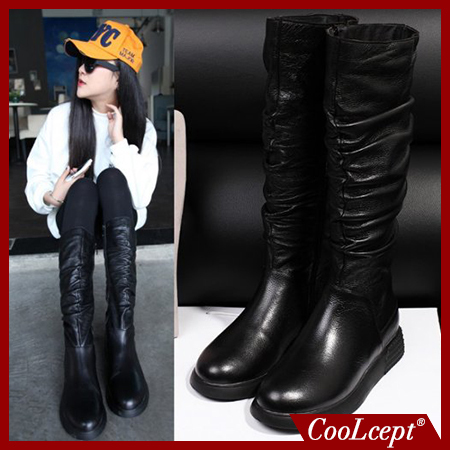 women real genuine leather flat over knee boots fashion long boot winter botas masculina brand footwear shoes R7719 size 34-39(China (Mainland))