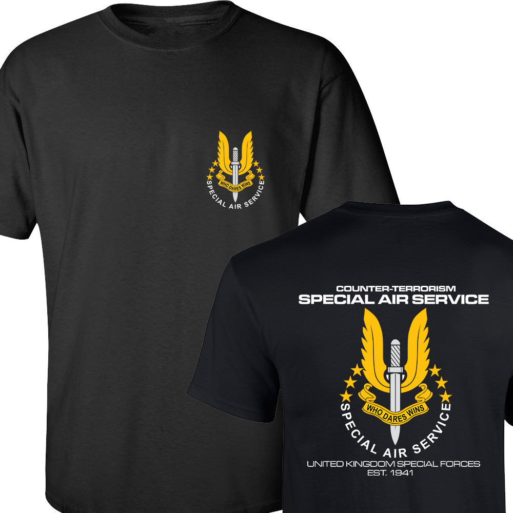 SAS SPECIAL AIR SERVICE BRITISH ARMY UNITED KINGDOM SPECIAL FORCE SNIPER MEN'S T SHIRT BOTH SIDES PRINTED COTTON BASIC TOP TEES(China (Mainland))