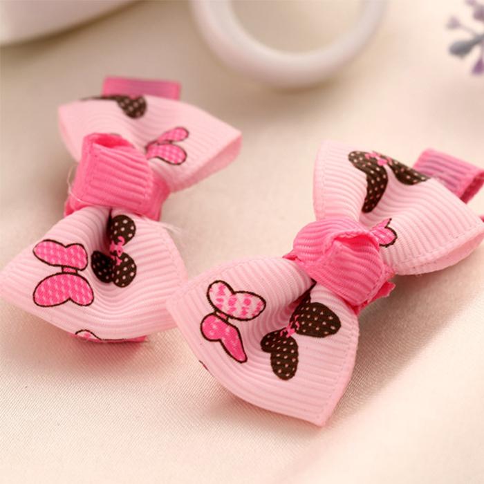 2Pcs/Lot Flower Cute Bowknot Baby Girl Ribbon Hair Bows Clips Hairpin Small Floral Bow Hairpin(China (Mainland))