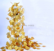 Wired Gold Leaf Garland Ivy Silk Artificial Vine Greenery