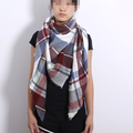 ZA New design luxury Brand Plaid Cashmere Oversized Triangle for Women Blanket Scarf Wrap