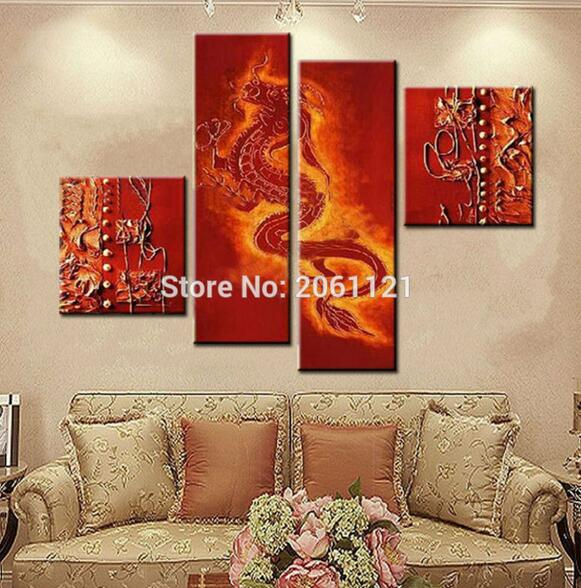 Handmade Canvas Wall Painting red dragon Oil Painting traditional chinese dragons Pictures china Wall Art culture(China (Mainland))
