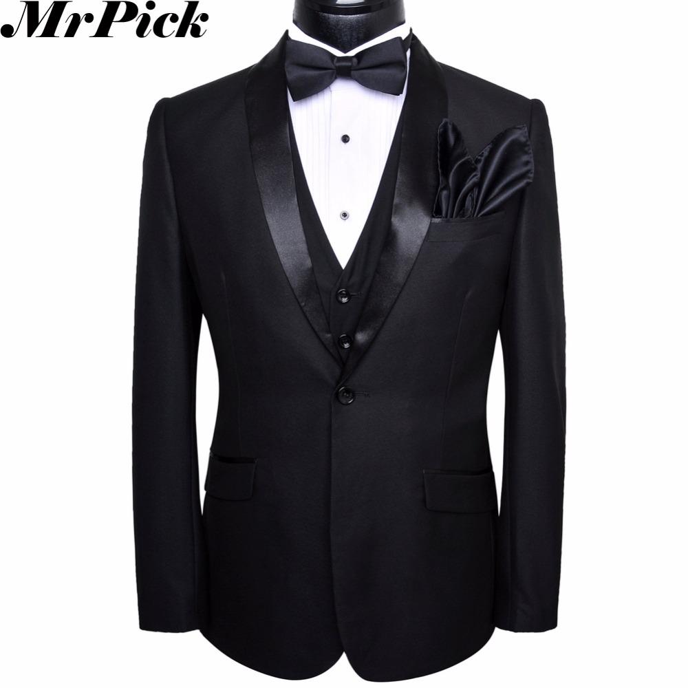 Jacket Pants Vest Bowtie Square 2016 5pcs Set Men Suits Wedding Tuxedo Costume Homme Terno