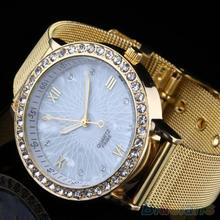 Women Elegant Crystal Roman Numerals Golden Plated Metal Mesh Band Wrist Watch 1QB6
