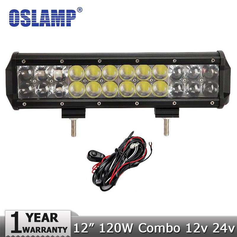 Oslamp 120W 12 inch CREE Chips LED Light Bar Combo Beam Work Offroad Led Driving Lamp 12V 24V SUV ATV Wagon 4WD 4X4 - official store