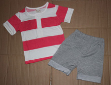 retail 2014 summer new design children clothing set for baby girl red white striped shirt gray