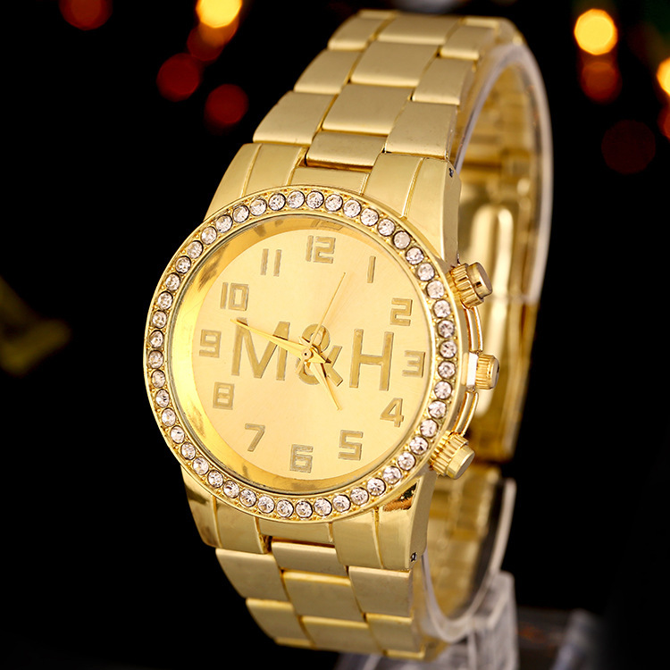 2015 new hot sale fashion women's men's watches watch diamond watch golden steel quartz watch(China (Mainland))
