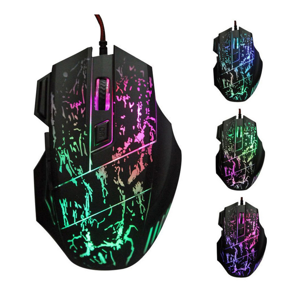 Novelty 7 Buttons Ergonomic Design Cool Colorful LED USB Wired Black Gaming Mouse Compatible with Computer and Laptop(China (Mainland))