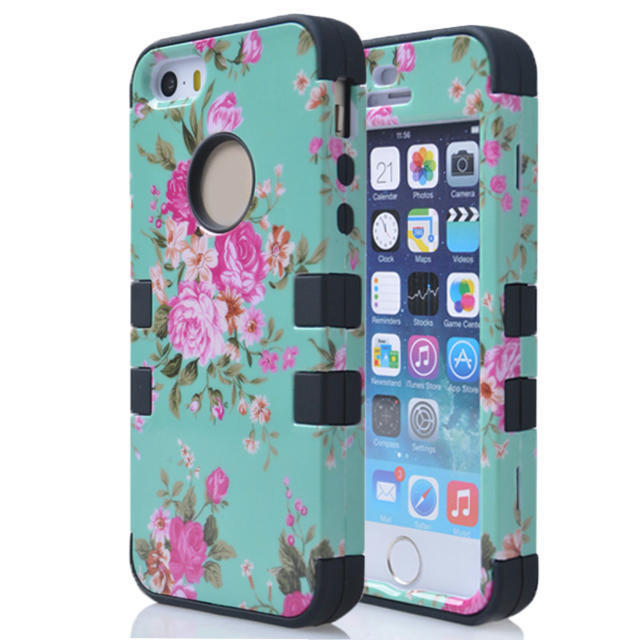 Triple printing Printer Rugged Rubber Hard Tuff Case Cover For iPhone 5 5G 5S Free Gifts Screen Protective Film + Stylus Pen(China (Mainland))