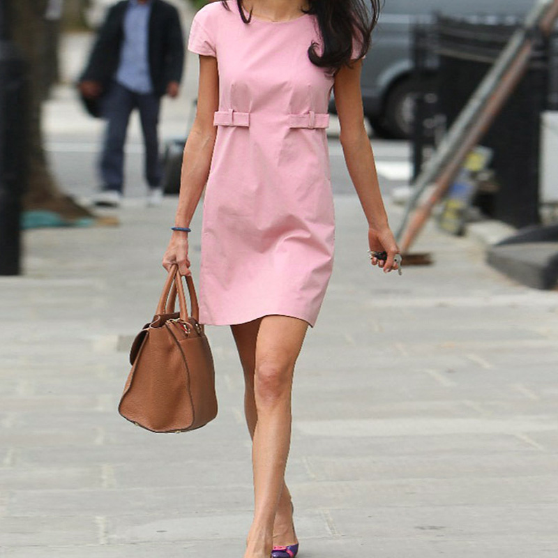 hot sale 2016 New women summer sexy Dress Cute Pink party dress celebrity Bodycon Dresses Fitness Work Pink Short Sleeve Dress(China (Mainland))