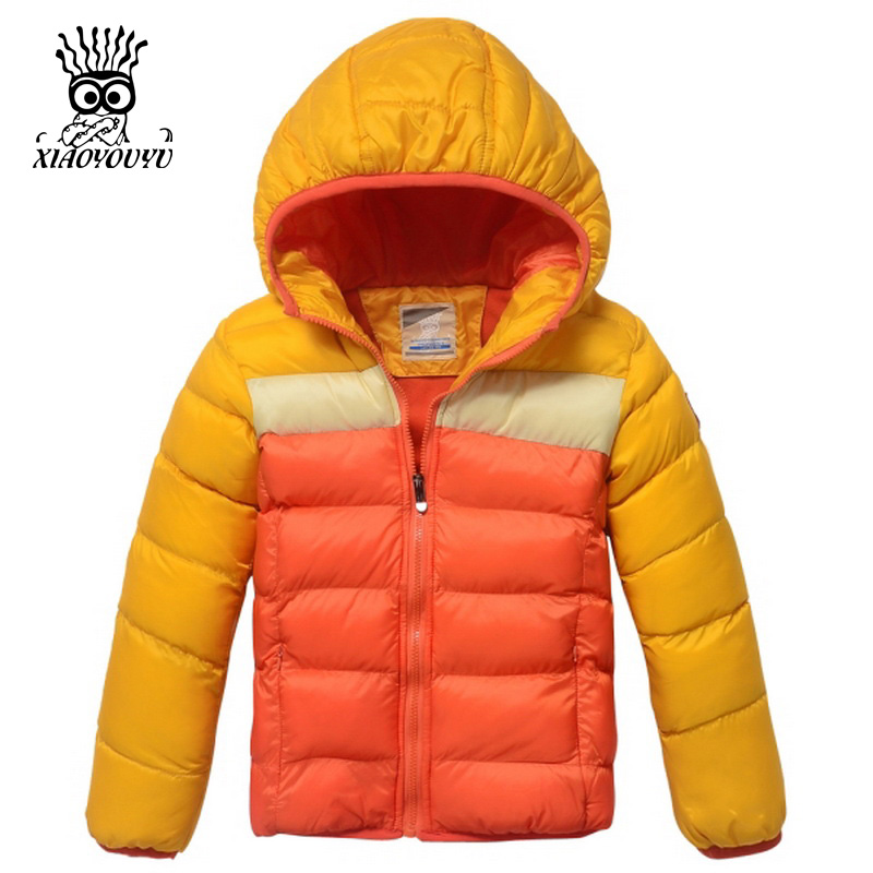 XIAOYOUYU Size 120-160 Children Outdoor Winter Jacket Hooded Patchwork Design Brand New Kids Boy Fashion Casual Coat(China (Mainland))