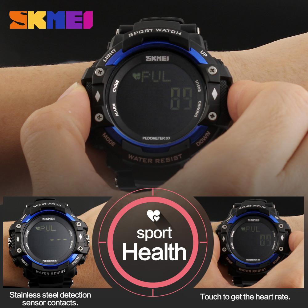 Skmei Время EL Свет Смотреть Шагомер Сердечного Ритма Секундомер Цифровой 50 М водонепроницаемый