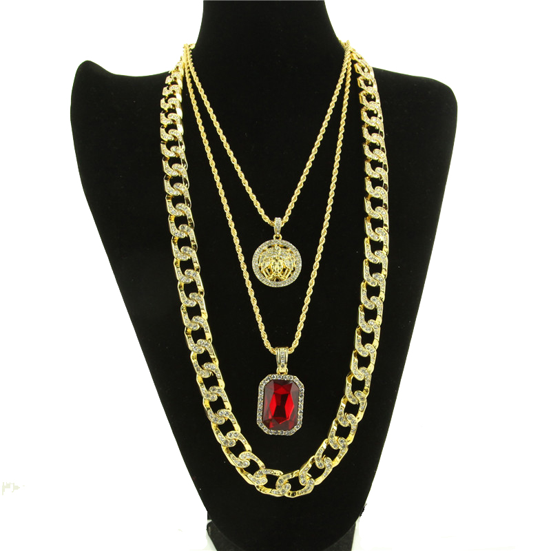 3 Pieces Chain Necklace Set Gold Plated Charm Hip Hop Necklace Red Ruby Pendant Necklace For Men and Women Trendy Jewelry