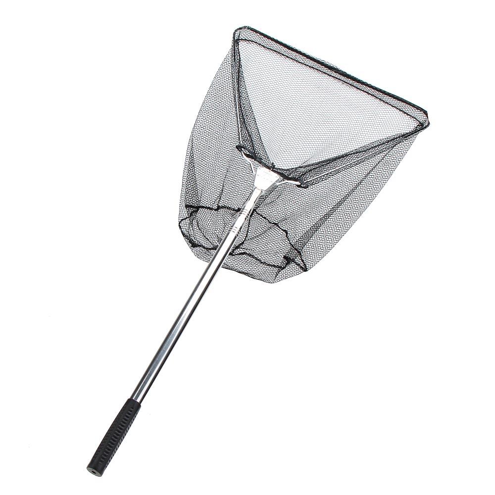 3 Sections Telescopic Fishing Net Triangle Landing Net Stainless Steel Handle Nylon Folding Landing Net(China (Mainland))