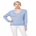 Knitbest 100 MERINO WOOL Knitted Sweaters Casual V Neck Soft All Match Pullovers Grey Blue White