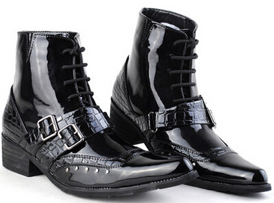 tide men pointed knight COS joker rivet short tube department European American fashion cowboy boots light leather - Holran Shoe Bags Store store