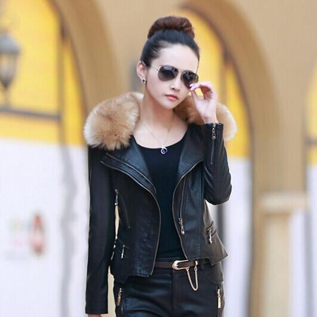 M-5XL Brand Женщины leather jacket 2015 winter & autumn Модный Мех Воротник Молния ...