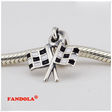 Fits Pandora Charms Bracelet 925 Sterling Silver Beads Chequered Flasgs Dangle Charm for Women DIY Jewelry Making FG005
