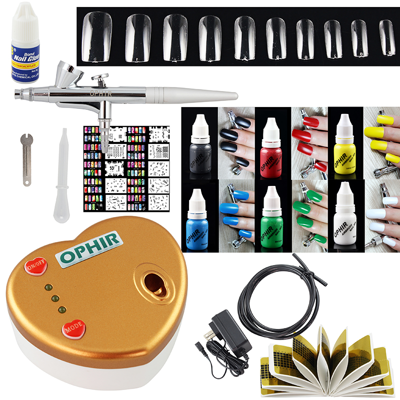 OPHIR Nail Art Single-Action Airbrush Kit with Compressor for Nail Painting 6Color Inks 10 Nail Stencils 20 Fake Nails_OP-NA003W(China (Mainland))