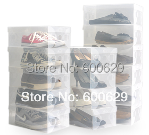 Transparent  Clear  for men  Stackable Crystal Thickening Plastic Shoe Storage Boxes Organizer 200pcs/lot(China (Mainland))