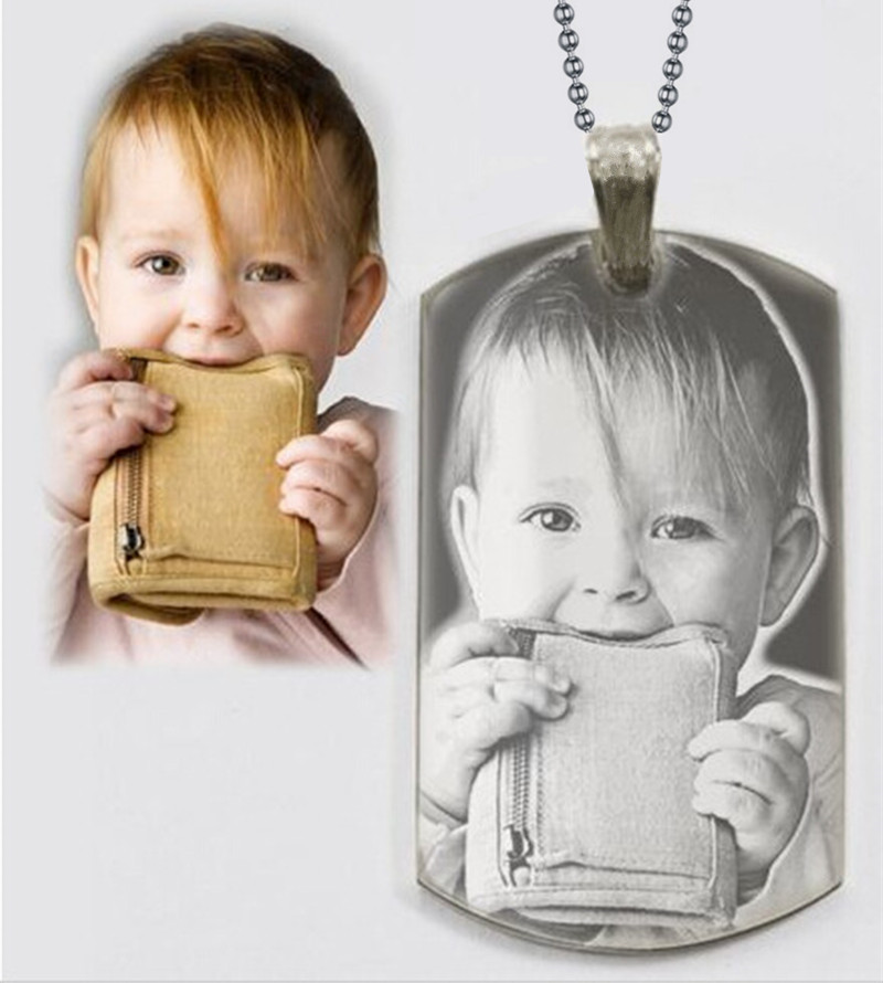 Personalized Photo Text Dogtags Custom Your Picture Text Necklace Pendant + Free Engraving # Anniversaries Mother's Day Gift(China (Mainland))