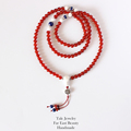 Wholesale Carnelian Lapis Lazuli Round Beads Necklace With S925 Silver Chinese Lucky Character Pendant Yoga Meditation