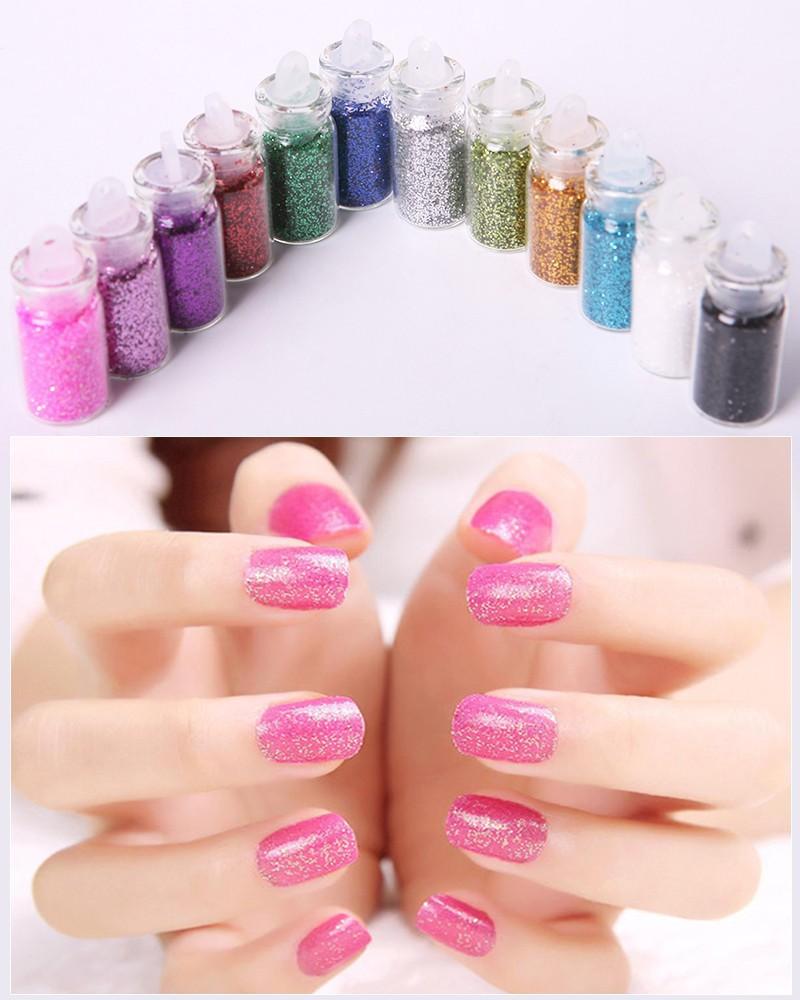 12 Color Metal Glitter Nail Art Tool Kit Powder Dust gem Polish Nail Tools #FM031(China (Mainland))