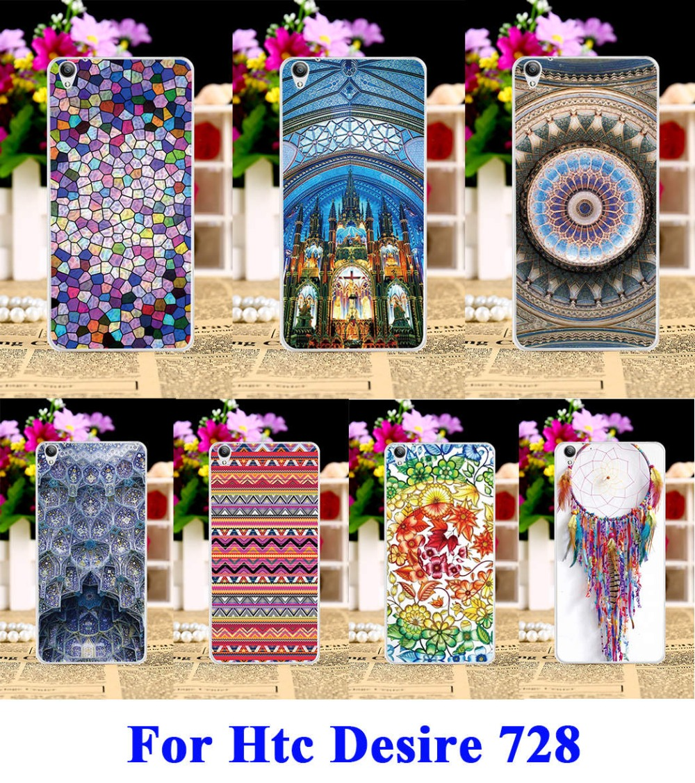 Hard Plastic Phone Cases For HTC Desire 728 728G Case DIY Back Protection Shell Cover ethnic clothing(China (Mainland))