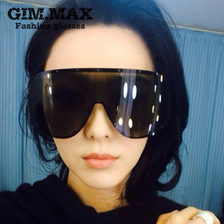 Gimmax star style oversized one piece polarized sunglasses personality sunglasses face-lift windproof glasses(China (Mainland))